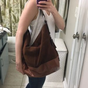 Ellington Suede and Leather Hobo Bag Warm Brown